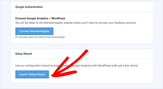 Click the Launch Setup Wizard button to connect your site to Google Analytics