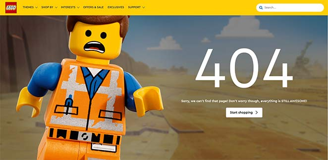 Lego friendly 404 page examples