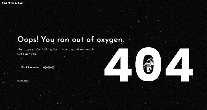 Mantra labs best custom 404 page examples
