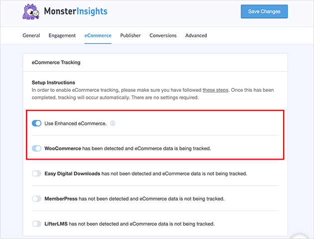enable enhanced ecommerce tracking in monsterinsights