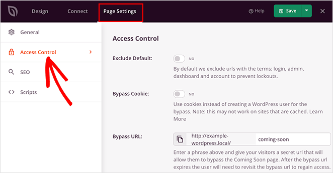 Navigate to SeedProd's access controls settings