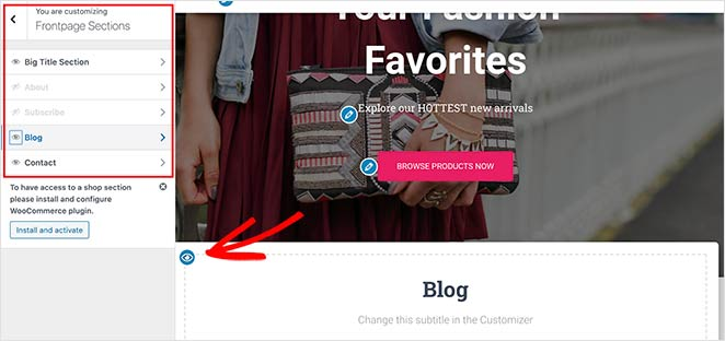 Add and remove homepage sections in the live customizer