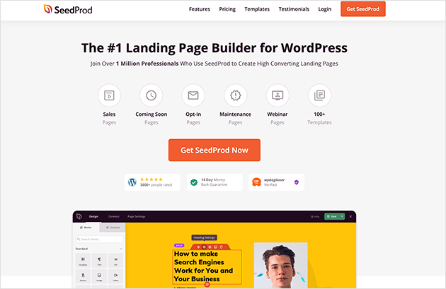 SeedProd best WordPress landing page plugin for building an modern under construction page