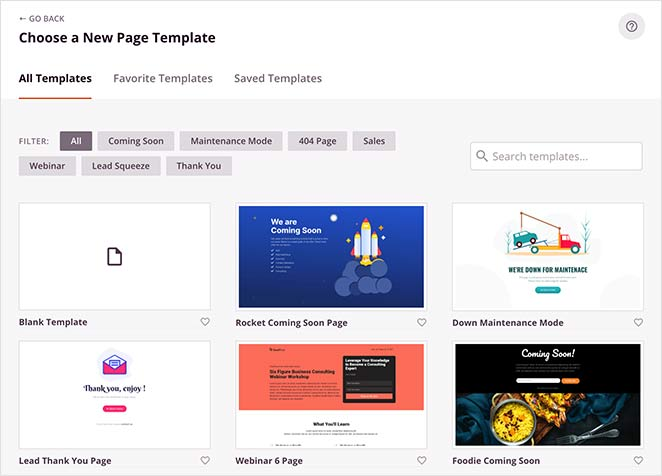 Seedprod's growing library of landing page templates