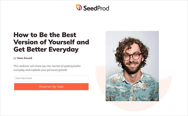 Example of a simple landing page made with SeedProd