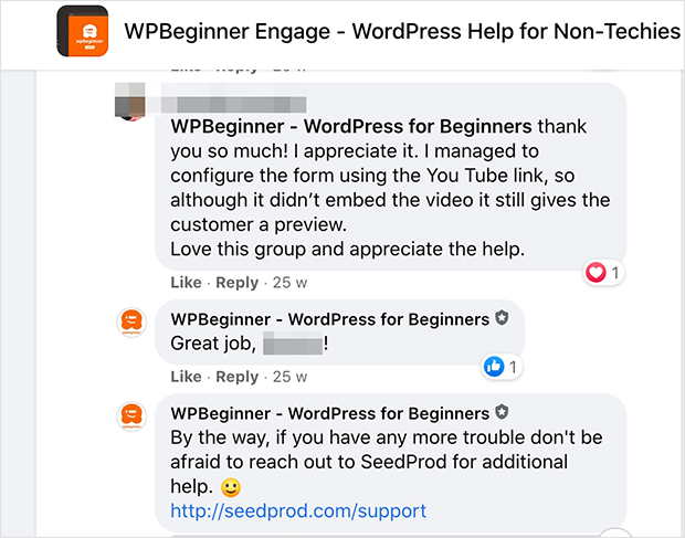 WPBeginner engage facebook group for free WordPress support