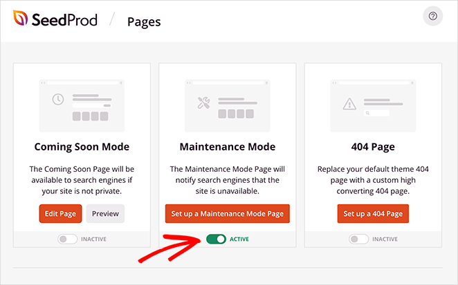 turn the maintenance mode from the inactive position to active to enable maintenance mode in WordPress