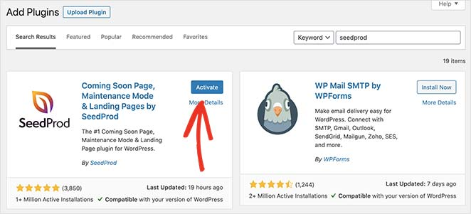 Click the blue button to activate the seedprod landing page and coming soon plugin