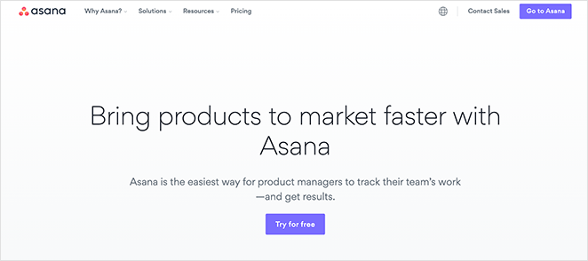 Asana landing page examples