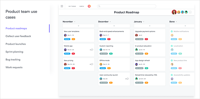 Asana use cases landing page