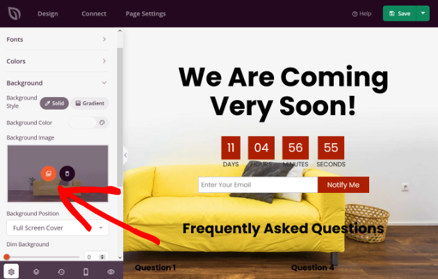 Change the background image on your website under construction page
