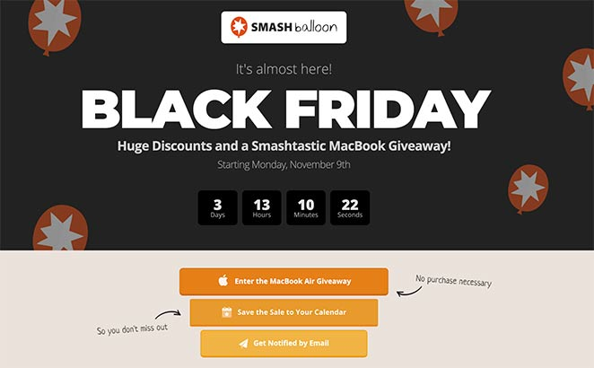 Black Friday landing page example