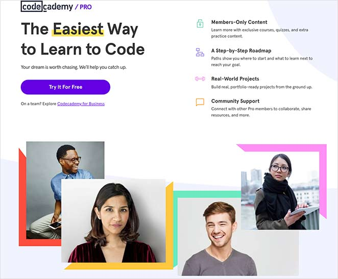 Codecademy landing page example