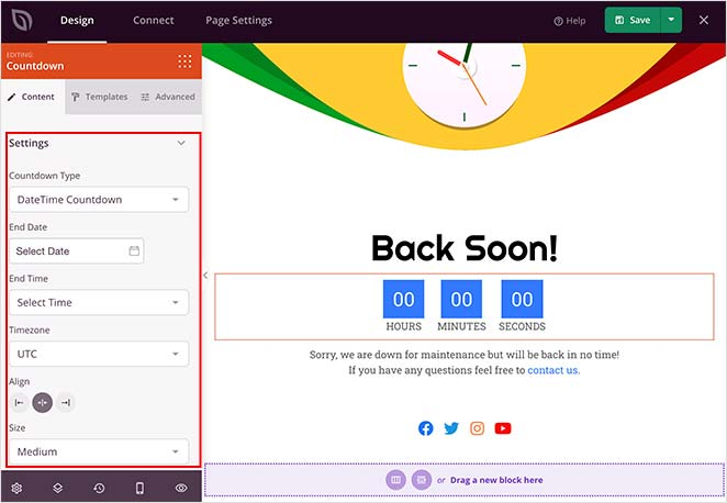 customize your maintenance mode countdown timer