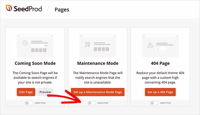 disabling maintenance mode in SeedProd when changing WordPress Theme