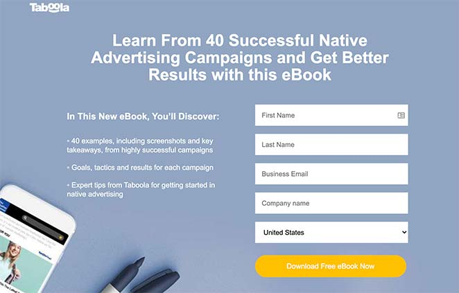 eBook landing page example