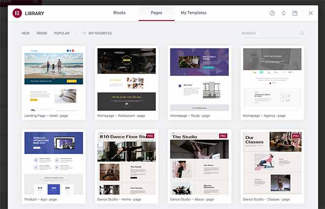 Elementor website template library