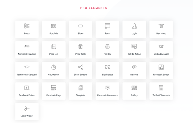 Elementor pro content elements