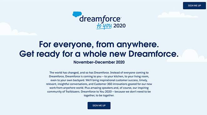 Dreamforce event landing page design