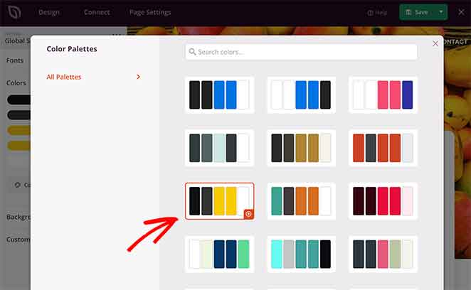 choose a premade color palette for your lead capture page