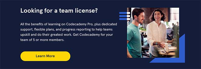 Codecademy call to action button example