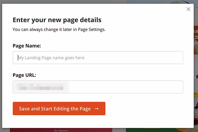 Give your ebook landing page a name and URL