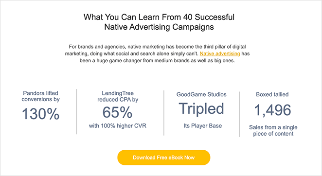 Case studies on landing pages
