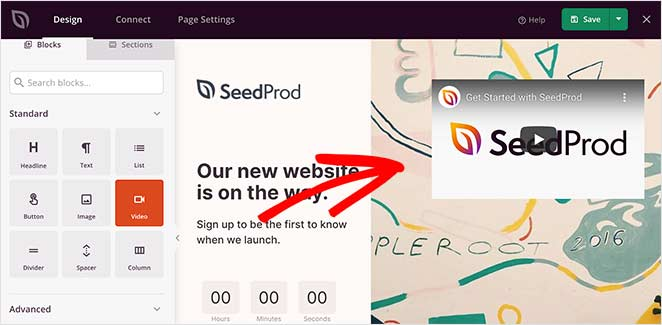 Use the SeedProd video block to easily add video to your coming soon landing page