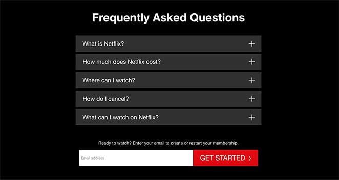 Netflix landing page FAQ section