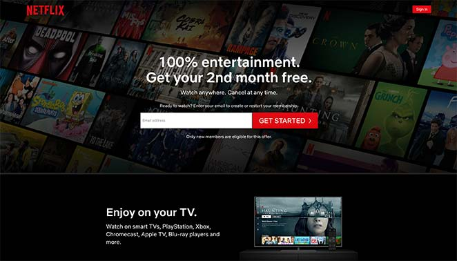 Example of a landing page from Netflix