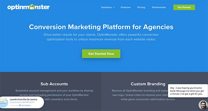 OptinMonster landing page design