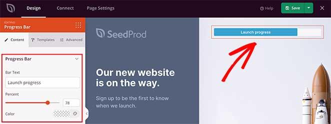 SeedProd coming soon page progress bar