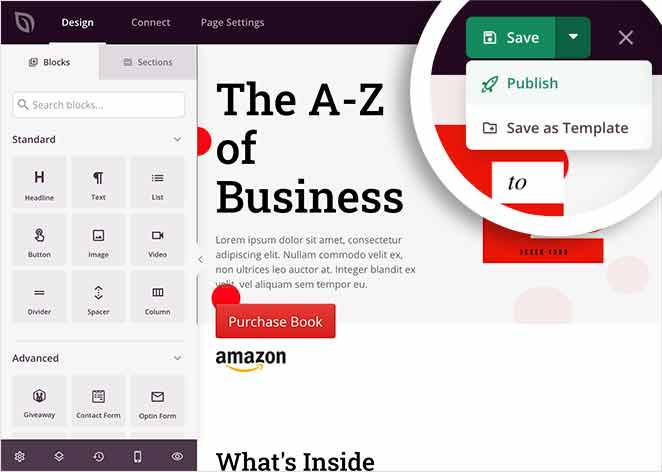 Publish your book landing page