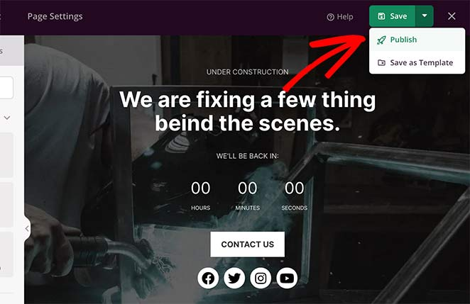 Save changes and publish your maintenance mode page in WordPress