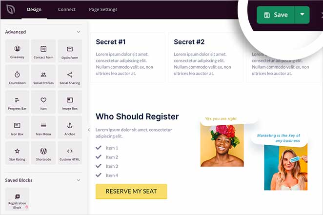 Save your webinar landing page