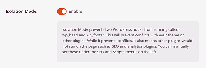 SeedProd isolation mode for faster page speeds.
