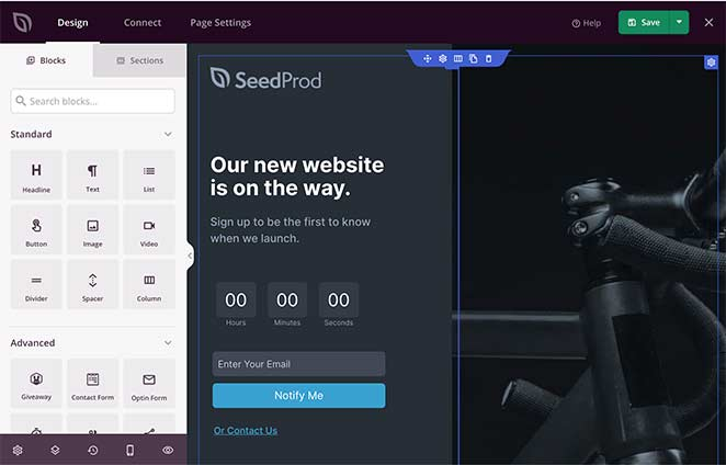 SeedProd drag and drop coming soon page builder