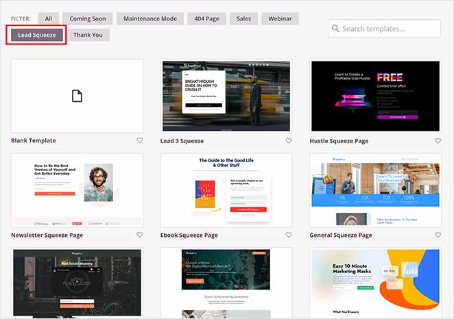 SeedProd landing page templates
