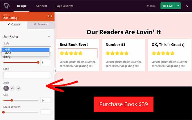 use star ratings on landing pages for social proof