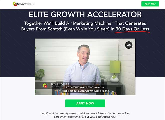 Training landing page example