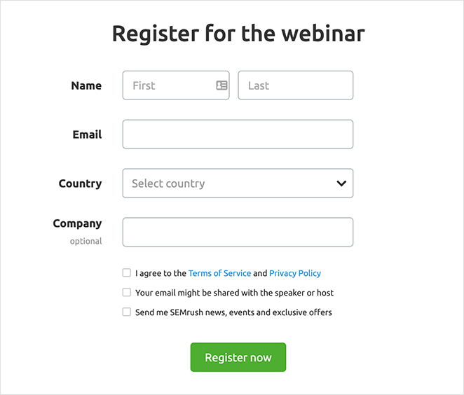Webinar landing page registration form
