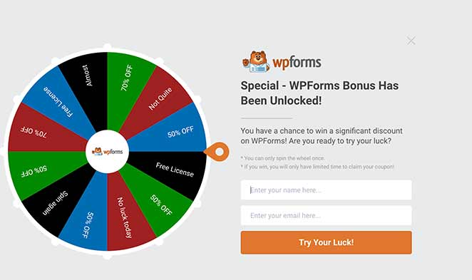 WPForms squeeze page example