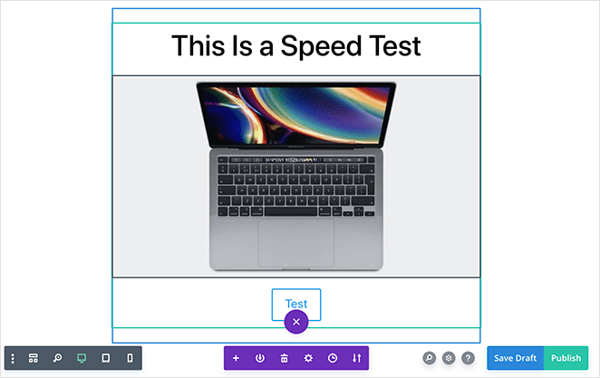 Divi builder speed test