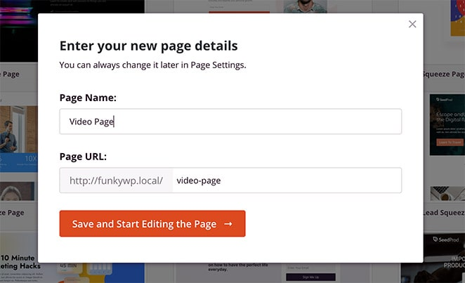 Enter your landing page name and URL