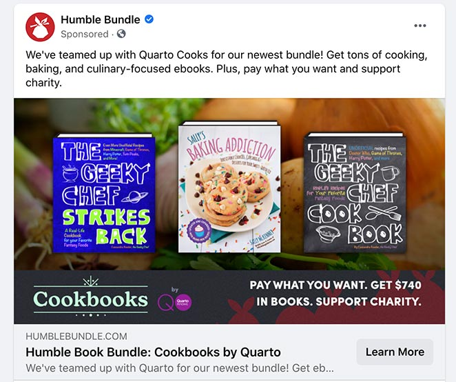 Facebook ad for landing page