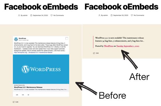 facebook and instagram oEmbeds breaking WordPress