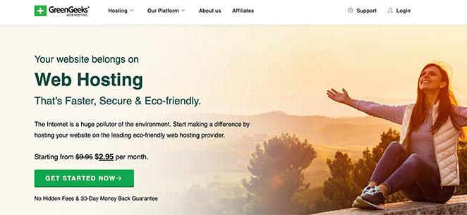 GreenGeeks environmentally friendly WordPress hosting