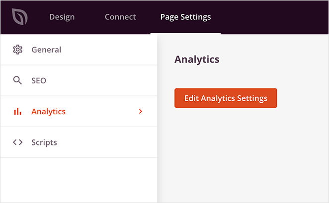 Landing page analytics settings