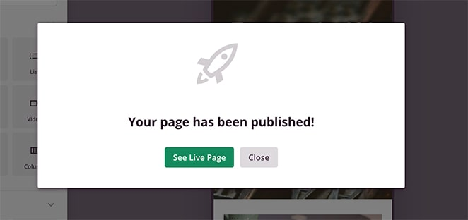Your landing page has been published in WordPress