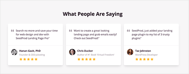 You can optimize landing pages for conversions with customer testimonials